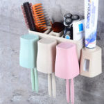 New Auto Automatic Toothpaste Dispenser 8 Toothbrush Holder Cup