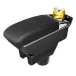 New Black Leather Black Line Double Layer Armrest Car Storage Box For Mitsubishi 2014-2018