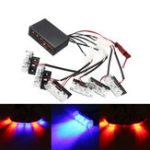 New 12V LED Red Blue Strobe Flash Lights Emergency Light Police Dash Warning Signal Lamp Car Motorcycle