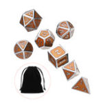 New 7Pcs Antique Metal Polyhedral Dices With Bag Copper Color For Dungeons Dragons Game