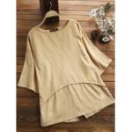 New Women Casual Loose Solid Color 3/4 Sleeve Blouse