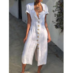 New Button Casual Solid Jumpsuit