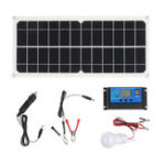 New 10W 12V 5V USB Solar Panel Charger Monocrystalline Flexible Cell Generator Lighting System W/ 10A Controller