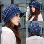 New Women Vintage Plaid Polyester UV Protection Bucket Cap