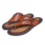 New Men Genuine Leather Clip Toe Slippers