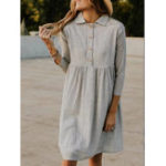 New Women Casual Turn-down Collar 3/4 Sleeve Button Dress