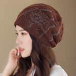 New Women Summer Polyester Double Layers Beanie Cap