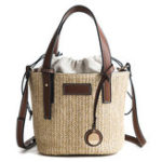 New Straw Beach Bag Bucket Bag Handbag Shoulder Bag For Women