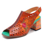 New SOCOFY Handmade Floral Pattern  Leather Sandals