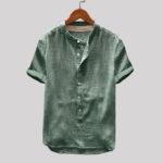 New Mens Vintage Stand Collar Short Sleeve T-shirts