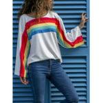 New Rainbow Striped Print O-neck Women T-shirts