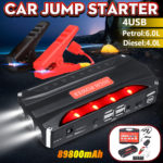 New 4 USB 89800mAh Car Jump Starter Rescue Pack Booster Battery Power Bank Charger