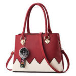 New Women Faux Leather Patchwork Fur Ball Handbag Crossboy Bag