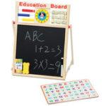 New 2 in1 Wooden Blackboard Whiteboard Childrens Drawing Writing Art Chalk Board