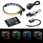 New 2PCS 30cm Magnetic RGB LED Strip Light with IR Controller  for Desktop PC Computer Case
