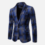 New Mens Plaid Fashionable Suit Jacket Blazers