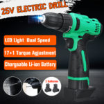 New 25V Professional Cordless Electric LED Screwdriver Power Drill W/ 1 or 2 Lithium Battery