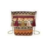 New Women Weaving Tassel National Crossbody Bag Chic Bucket Bag
