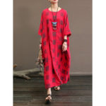 New M-5XL Vintage Women Loose Plaid Baggy Half Sleeve Maxi Dress