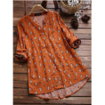 New Women Casual Cat Print V-Neck Button Long Sleeve Blouse