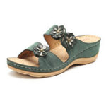 New LOSTISY Flowers Slip On Soft Casual Wedge Sandals