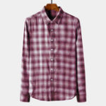 New Men Plaid Cotton Turn Down Collar Single Breasted Shirts