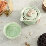 New Handmade Chinese Travel Tea Pot Ru Kiln Kung Fu Tea Set Ceramic Teacup Carry Bag