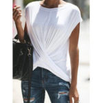 New Women Casual Solid Color O-neck Short Sleeve Crossed T-shirt