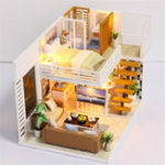 New DIY Model Building Handcraft Miniature Project Wooden Dolls House LED Light House Room Kit