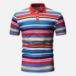 New Men Colorful Stripe Muscle Fit Golf Shirt