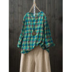 New Women Vintage Plaid O-neck Long Sleeve Blouse