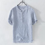 New Mens Fashion Striped Short Sleeve Buttons Casual T-shirts