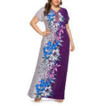 New Women Floral Patchwork V-neck Short Sleeve Kaftan Dress