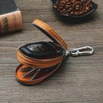 New Men Genuine Leather Double Zipper Car Key Case