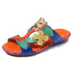 New SOCOFY Handmade Flowers Comfy Leather Flat Sandals