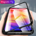 New Bakeey™ Magnetic Adsorption Flip Metal Frame Tempered Glass Full Cover Protective Case for Xiaomi Redmi Note 7