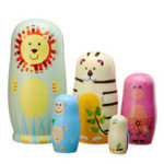 New 5PCS Russian Nesting Doll Wooden Matryoshka Animals Toys Decor Christmas Xmas Gift