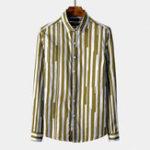 New Men Vertical Striple Cotton Long Sleeve Shirts