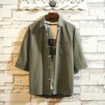 New Mens Summer Striped Pocket Design Half Sleeve Shirts