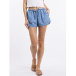 New Denim Elastic Waist Shorts