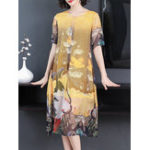 New Elegant Women Art Print Crew Neck Short Sleeve Dress