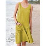 New Casual Women Solid Color Sleeveless Dress with Pockets