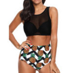 New Gathered High Waist Black Mesh Bikini