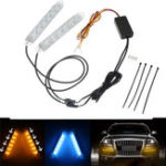 New Switchback Headlight LED Strip DRL Turn Signal Light Tube Lamp Dual Color 18.5/25/32cm 2PCS