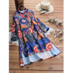 New Women Random Art Print Button High Low Hem Dress