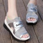 New Mesh Hook Loop Platform Sandals For Women