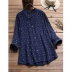 New Women Casual Print Button Long Sleeve T-Shirts