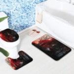 New 3Pcs/Set Bath Carpet Set Forest Pattern Non-Slip Bathroom Toilet Seat Covers Floor Mats Rug Set