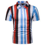 New Mens Summer Striped Cross Color Casual Golf Shirts