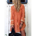 New Women Casual V-Neck Lace Patchwork Long Sleeve Mini Dress